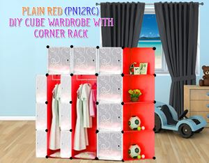 Plain Red 12C DIY Wardrobe With Corner Rack (PN12RC)