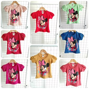 T-Shirt Girl Short Sleeve Minnie Mouse Flower: Size 2-8 (1 - 6 tahun)