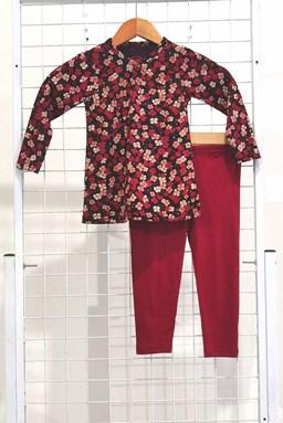 [SIZE 3/4Y , 5/6Y] Girl Set Long Sleeve : RED FLOWER BLACK WITH MAROON PANT (3y - 8y) SPG