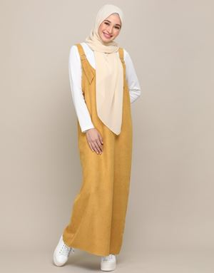 SOPHIA OVERALL DRESS IN MUSTARD