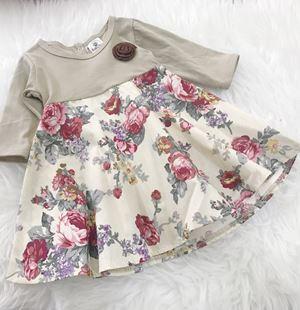 SALE - Aisya Dress ( Grey with Cream English Rose)