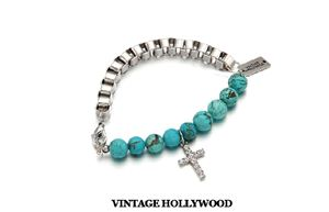 VINTAGE HOLLYWOOD TURQUOISE CROSS HALF CHAIN BRACELET INSPIRED
