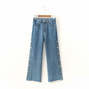 BUTTONS ACCESSORIES WIDE LEGS JEANS