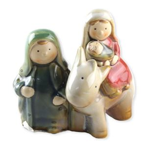 Porcelain Color - Glazed Holy Family w/Donkey
