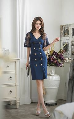 V-neck slim Lace Stitching Dress
