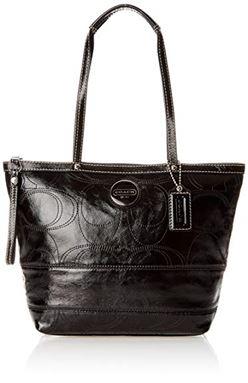 Coach  Signature Stitched In Black Patent Leather Tote F15142