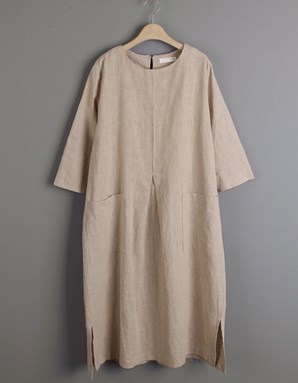 Cotton Linen Caftan (Beige)