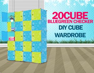PLAIN CHECKER BLUEGREEN 20C DIY CUBE (BG20)