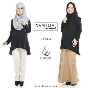 Camelia Diamond Blouse : Black