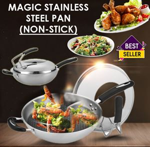 Korean Magic Non-Stick Stainless Steel Pan(Stainless steel wok without oil smoke wok uncoated flat bottom non-stick pan)