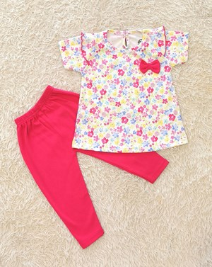 Baby Girl Set :WHITE MIX FLOWER WITH HOT PINK PANT (9m - 36m) SPG