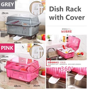Dish Rack with Cover/ Rack pinggan + penutup