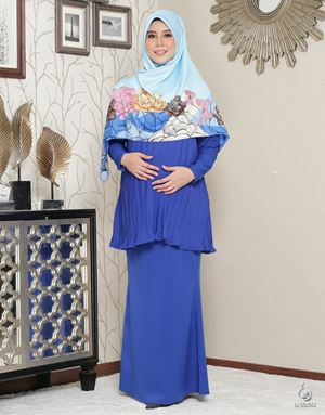 Lara Alana Pleated Kurung : Royale Blue