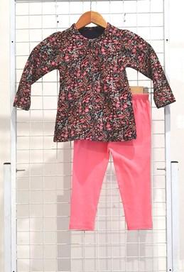 [SIZE 3/4Y - 7/8Y] Girl Set Long Sleeve : SMALL FLOWER BLACK WITH PEACH PANT (3y - 8y) SPG