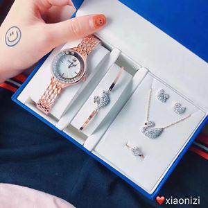 SWR08 A07 Swarovski Elegant Watch Set (Watch + Necklace + Earring + Ring + Bangle)
