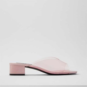 Pink Transparent Tide Thick Heeled Mules