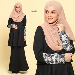 Peplum Eleanor Brocade : Black