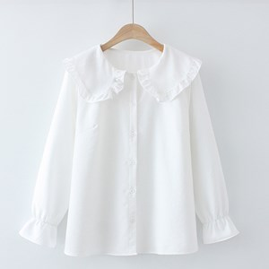 Oversized Blouse with Ruffled Collar (White)