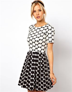 Skater Dress In Bow Jacquard