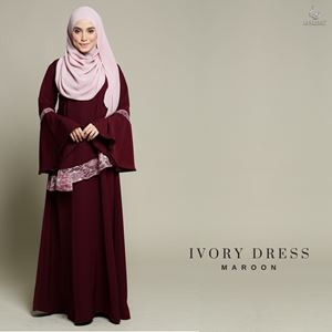 Ivory Dress : Maroon
