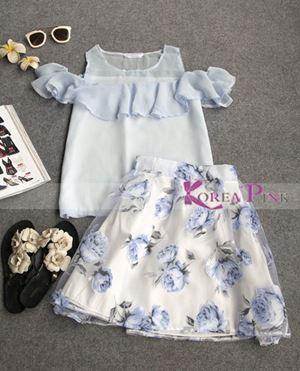 @ 212005 KOREAN PINK GIRL BLUE SET ( SZ 2y-7y )