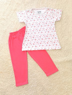 [SIZE 1/2Y - 7/8Y] Girl Set : ELEPHANT FLOWER WHITE WITH SALMON PINK PANT P(1y - 8y) SDM