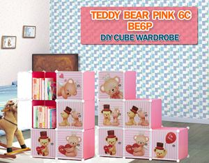 Teddy Bear PINK 6C DIY CUBE WARDROBE (BE6P)