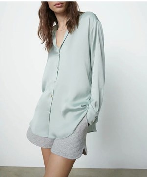 INSPIRED MINT GREEN SATIN TOP