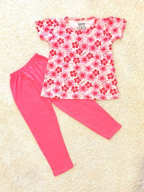 [SIZE 1/2Y] Girl Set : LOVELY DREAMER FLOWER PINK WITH PINK PANT (1y - 8y) SDM