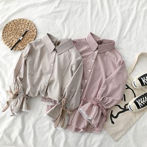 Haru Strap Bow Stripe Shirt