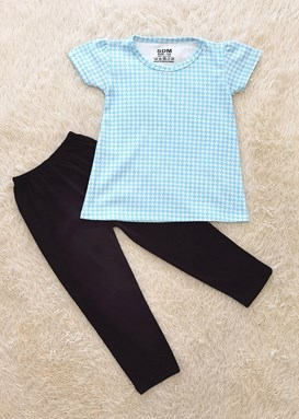 [SIZE 1/2Y] Girl Set : BLUE WHITE ABSTRACT WITH DARK BLUE PANT (1y - 8y) SDM
