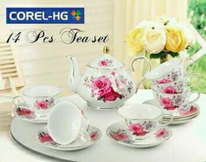 COREL-HG 14PCS TEA SET (GOLD LINING) - GOLDEN ROSES GOLD