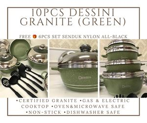 10PCS DESSINI DIE CAST SET GREEN (GRANITE) FREE 🎁 6PCS SET SENDUK NYLON ALL BLACK