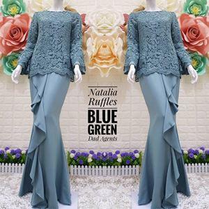 Kurung Natalia Ruffles Blue Green