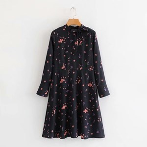 FLORAL PRINTS BLACK TUNIC DRESS