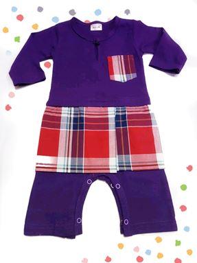 Rompers Baju Melayu (Purple with Pelekat Sampin )