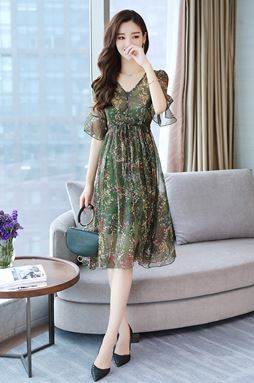 V-neck Floral Chiffon Dress
