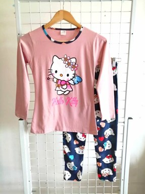 Pyjamas PLAIN HELLO KITTY ANGEL Peach - Long Sleeve 1y-8y