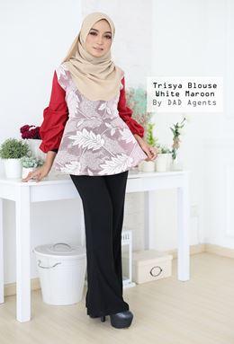 Trisya Blouse White Maroon