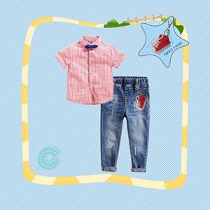 307-G  BOY SET  ( G ) CREAKER RED   ( SHIRT + JEANS )