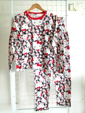 Pyjamas HELLO KITTY BLACK RED : Size DEWASA M - 4XL
