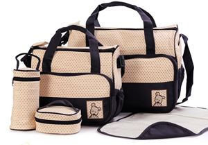 Black 5 in 1 Baby Diaper Bag
