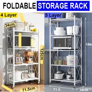 5 LAYER /4 LAYER Foldable Portable Space Saving Kitchen Storage Shelf Rack