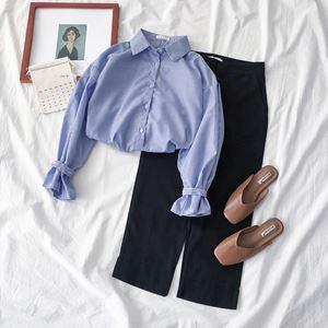 Sherry Trumpet Sleeve Stripe Shirt