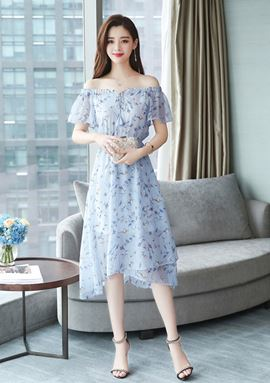 Chiffon Floral Slim Dress