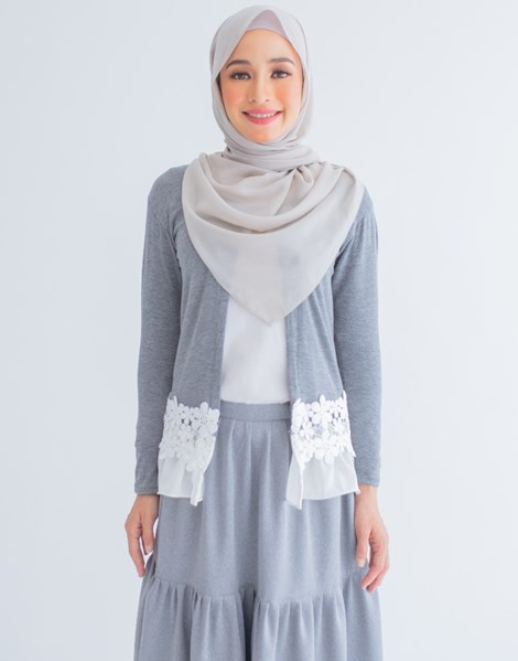 LUCY LACE CARDIGAN IN GREY