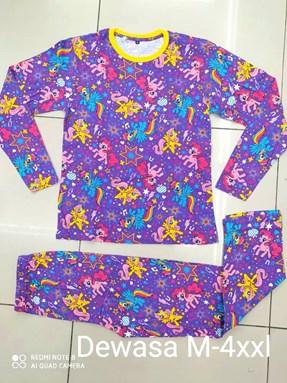 Pyjamas  PURPLE LITTLE PONY STAR : Size DEWASA M - 4XL