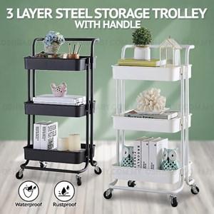 3 LAYER STEEL STORAGE TROLLEY + HANDLE