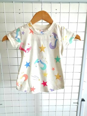 T-Shirt Short Sleeve Unicorn Star: Size 1y-6y (1 - 6 tahun) QK