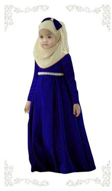 Dress Jubah Kids + Tudung Beriben - Blue (1-6y)